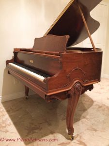 Knabe Ampico B, Reproducing Grand Piano, Side View, Walnut Case with French Provincial Legs